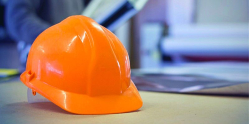 hard hat on desk